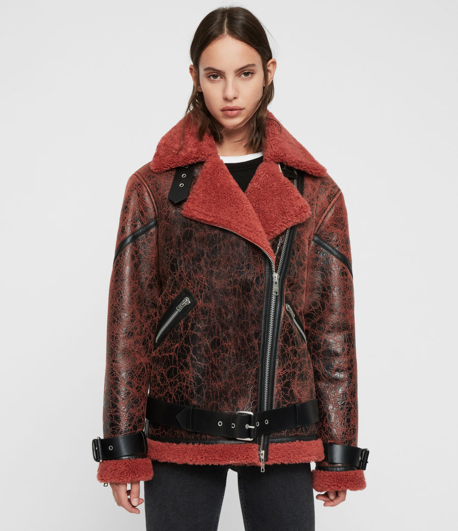 Womens Hawley Shearling Biker Jacket (raspberry_pink) - Image 5