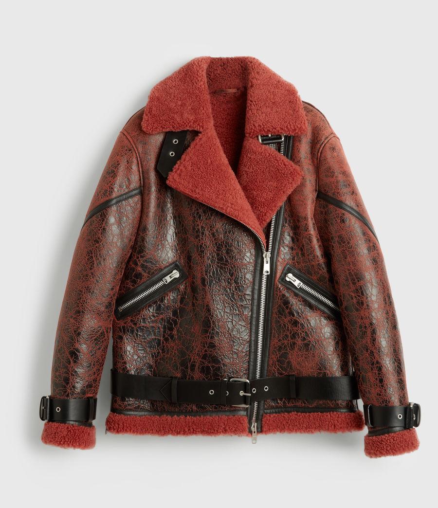 Women's Hawley Shearling Biker Jacket (raspberry_pink) - Image 9