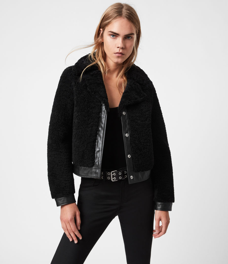 Womens Madsen Shearling Jacket (black) - Image 1