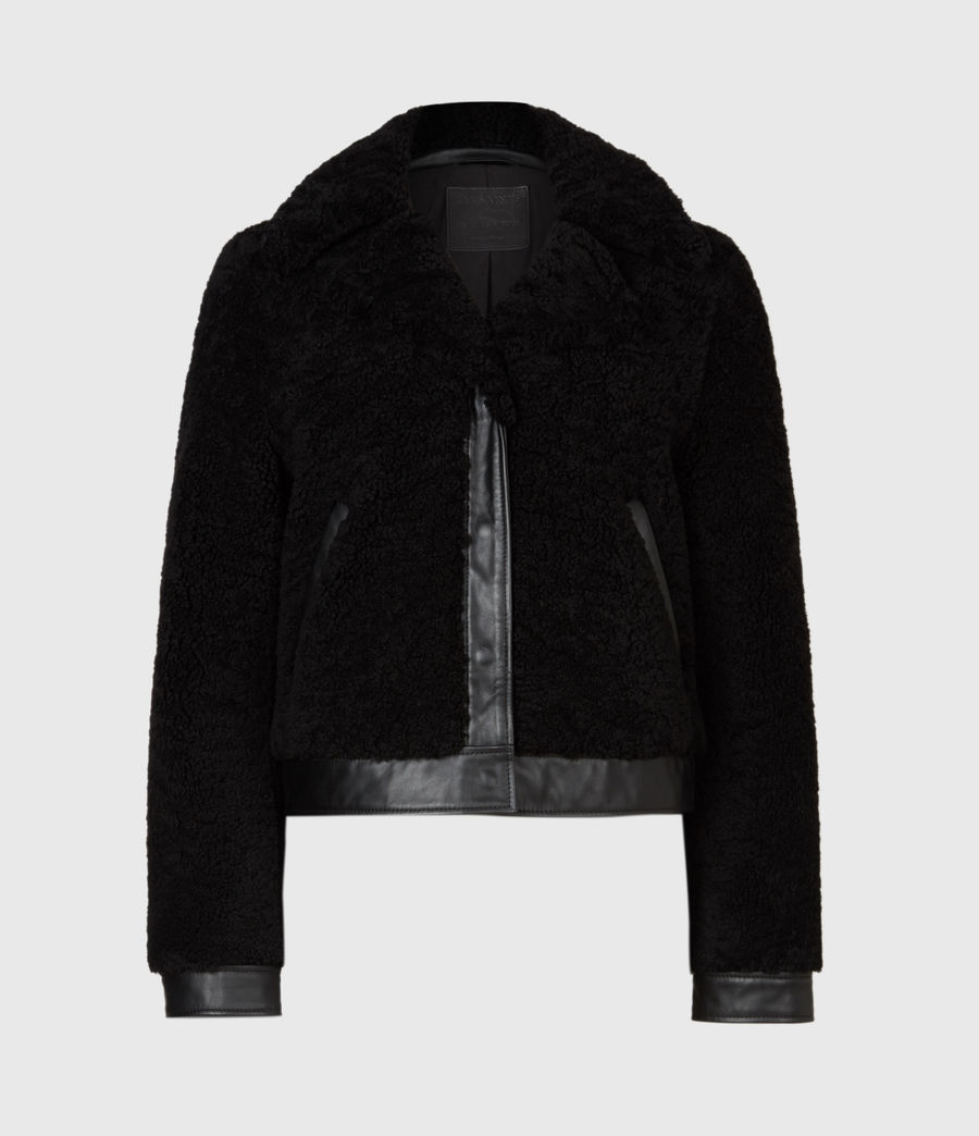 Womens Madsen Shearling Jacket (black) - Image 2