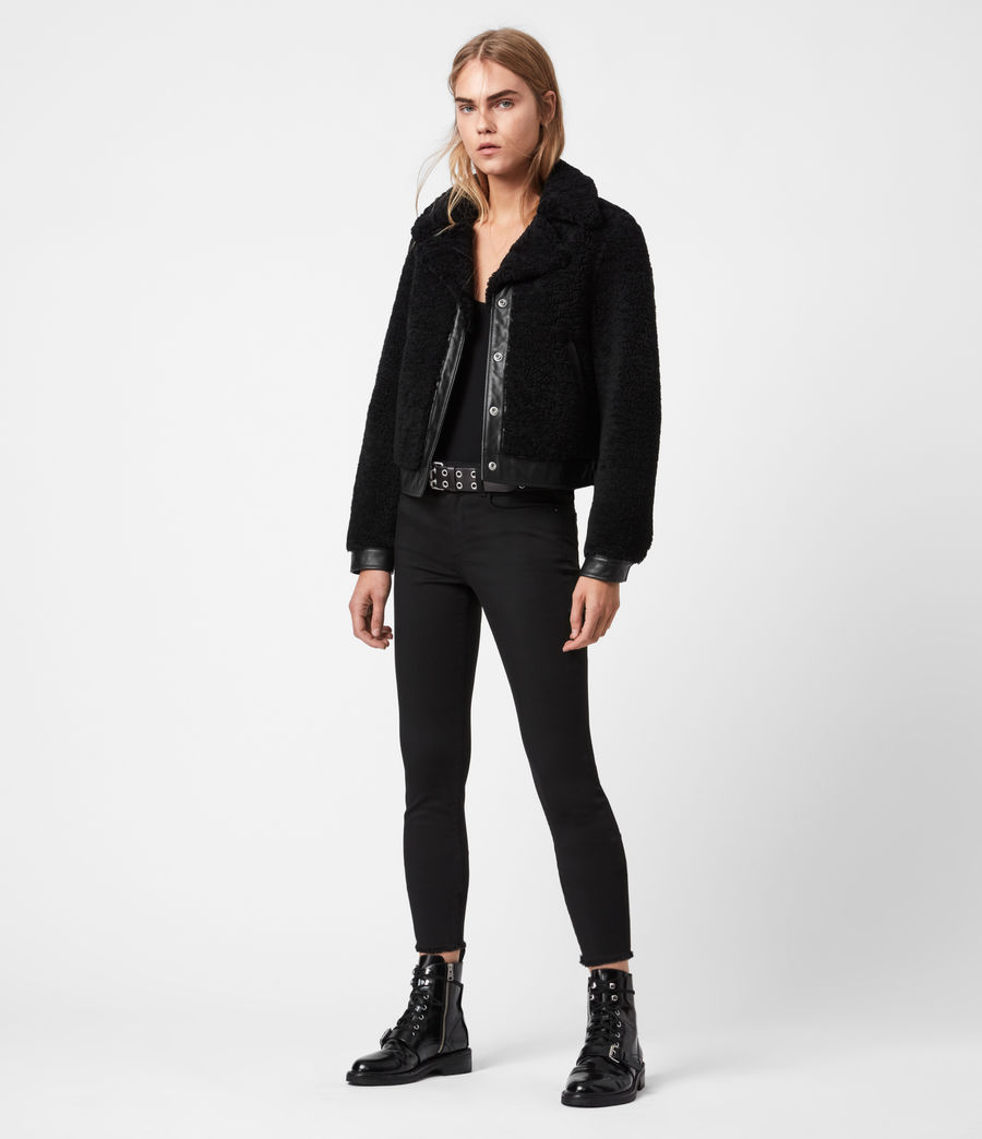 Womens Madsen Shearling Jacket (black) - Image 4