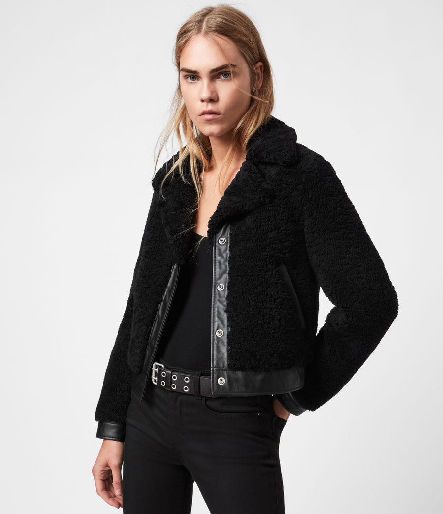 Womens Madsen Shearling Jacket (black) - Image 6