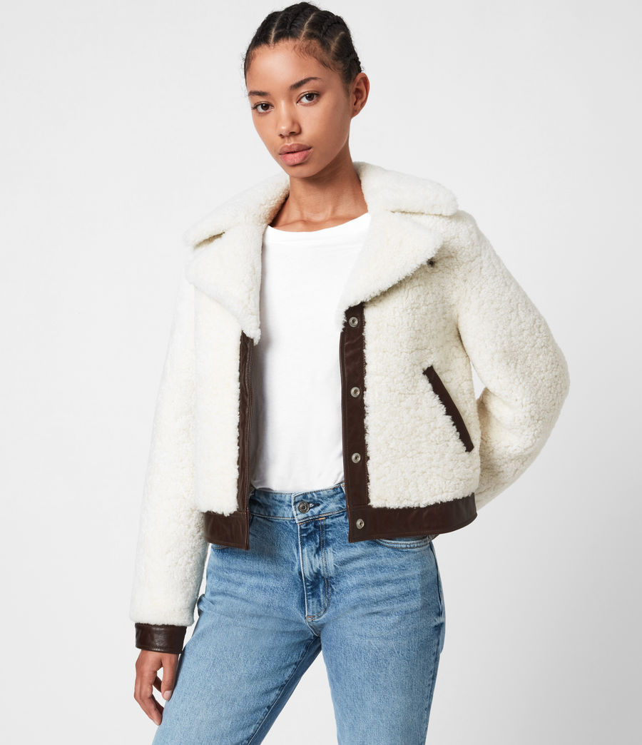 Women's Madsen Shearling Jacket (ecru_white_brown) - Image 1