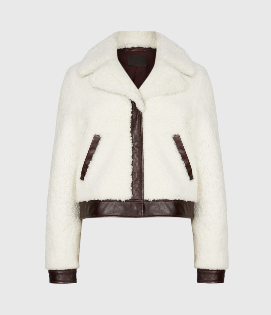 Women's Madsen Shearling Jacket (ecru_white_brown) - Image 2