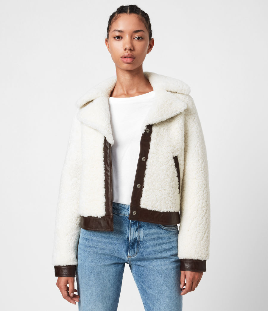 Women's Madsen Shearling Jacket (ecru_white_brown) - Image 6