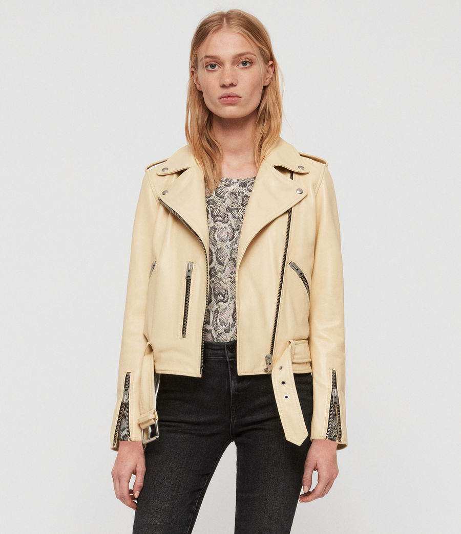 Womens Balfern Leather Biker Jacket (pale_yellow) - Image 1
