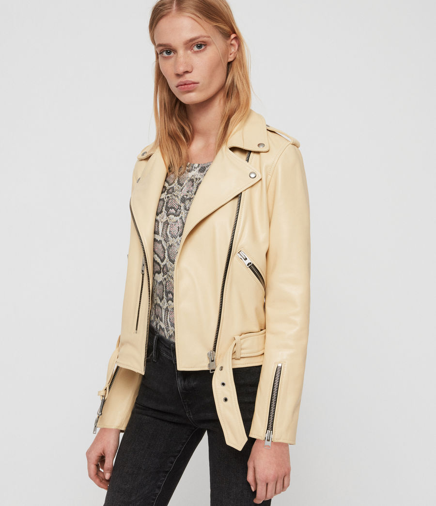 Women's Balfern Leather Biker Jacket (pale_yellow) - Image 2