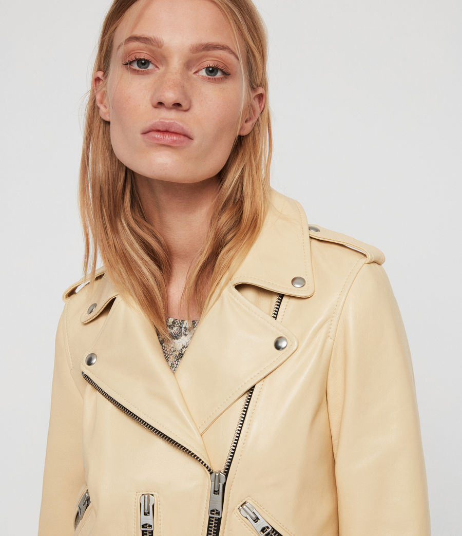 Womens Balfern Leather Biker Jacket (pale_yellow) - Image 3