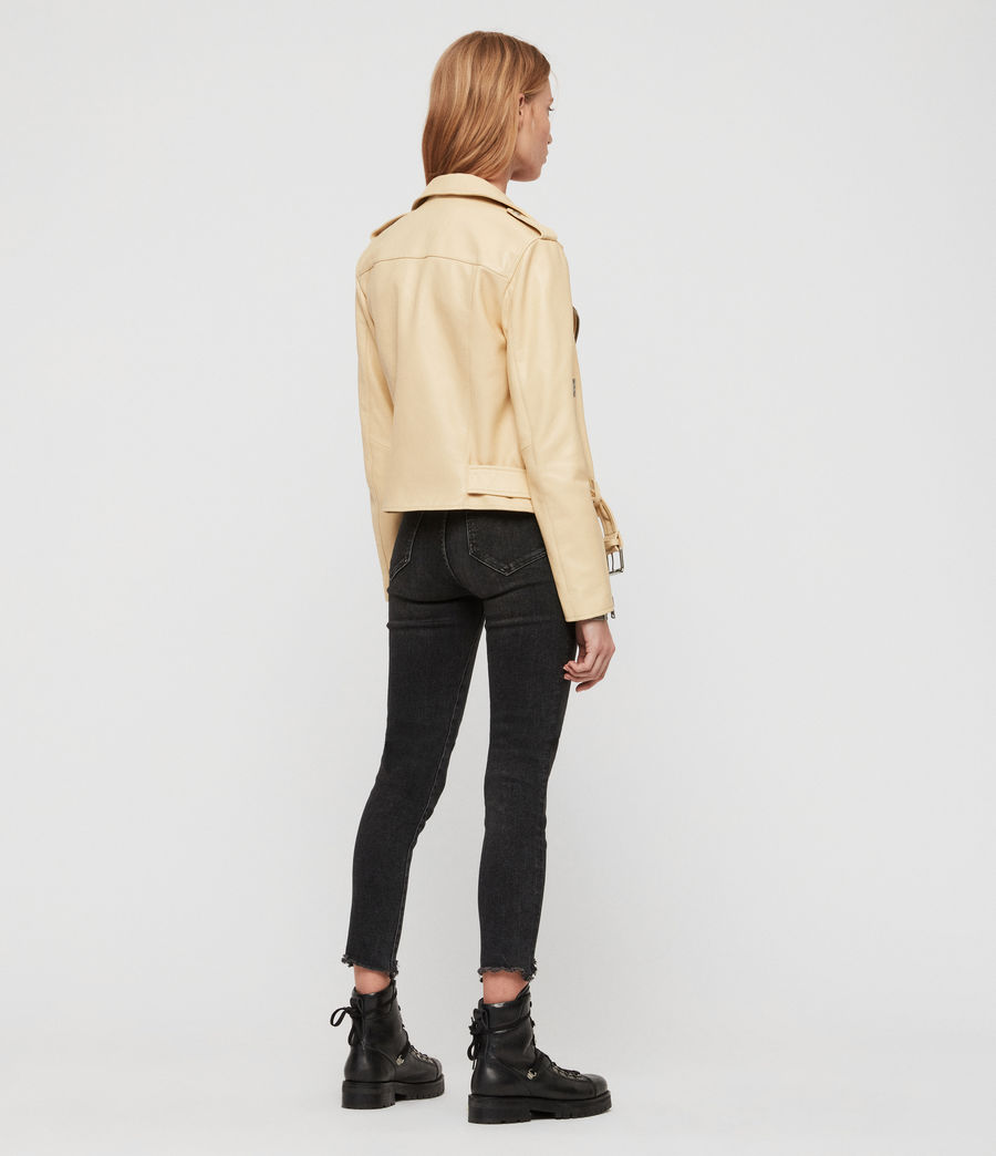 Womens Balfern Leather Biker Jacket (pale_yellow) - Image 4