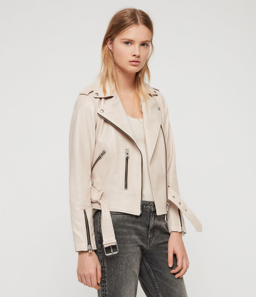 Women's Balfern Leather Biker Jacket (powder_pink) - Image 1