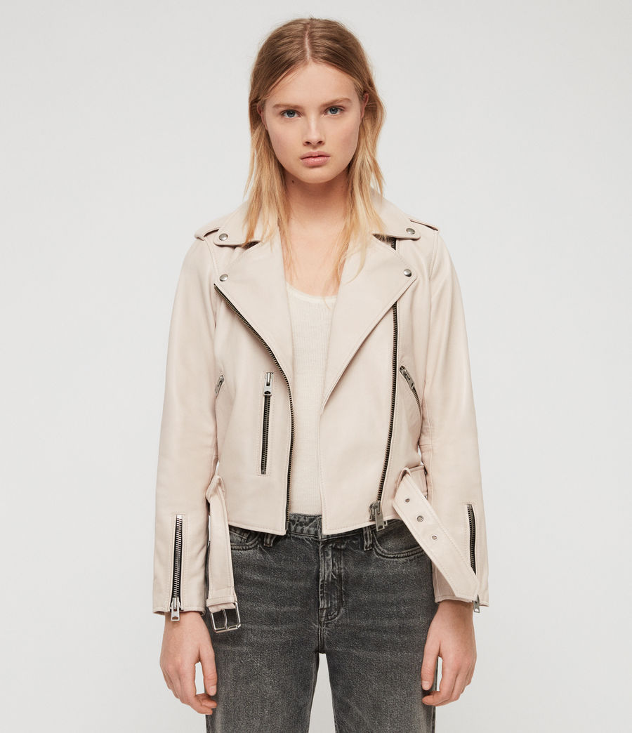 Women's Balfern Leather Biker Jacket (powder_pink) - Image 3