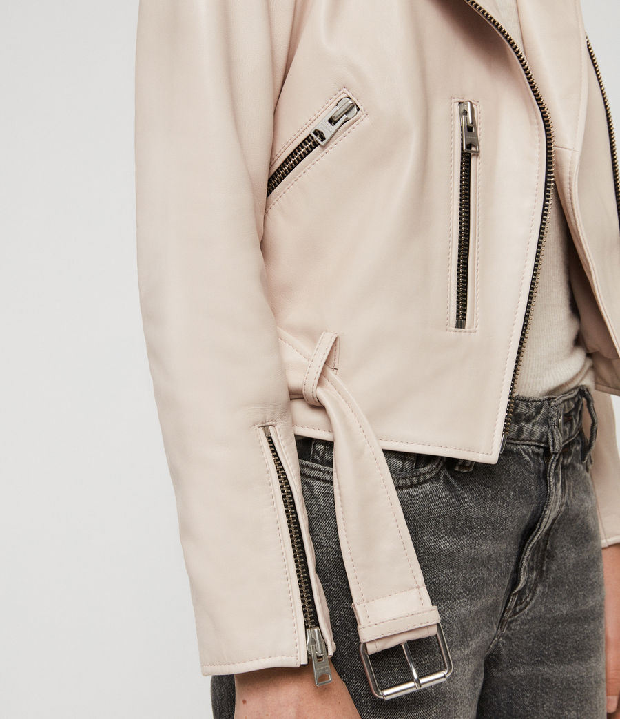 Women's Balfern Leather Biker Jacket (powder_pink) - Image 4