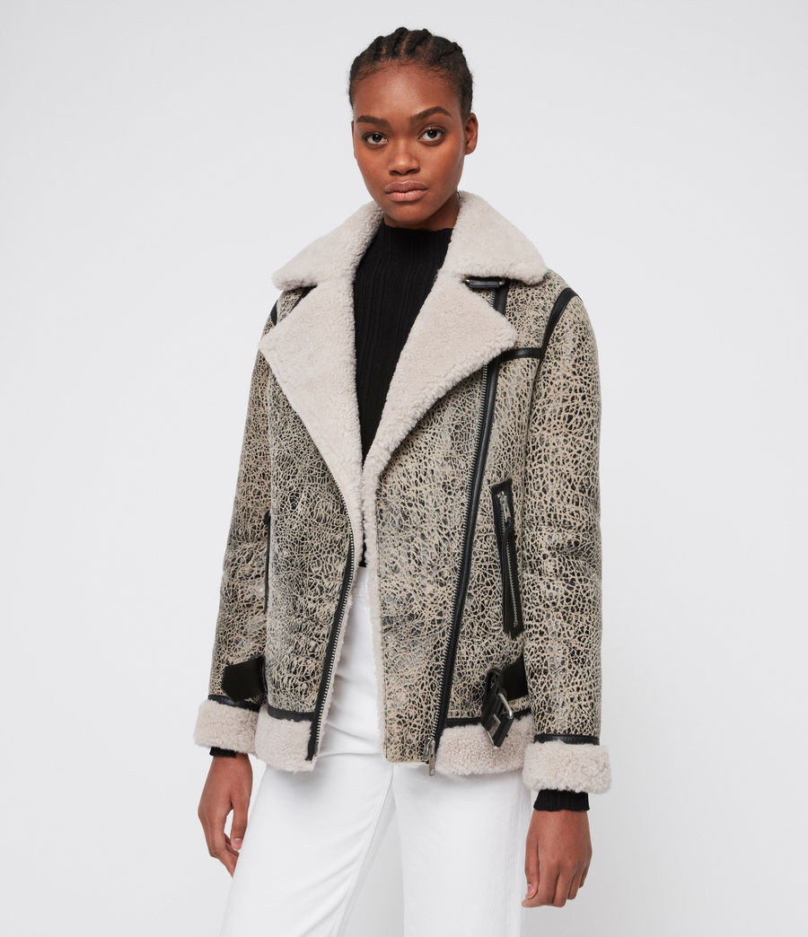 Damen Rei Shearling Jacke (aries_white_black) - Image 1