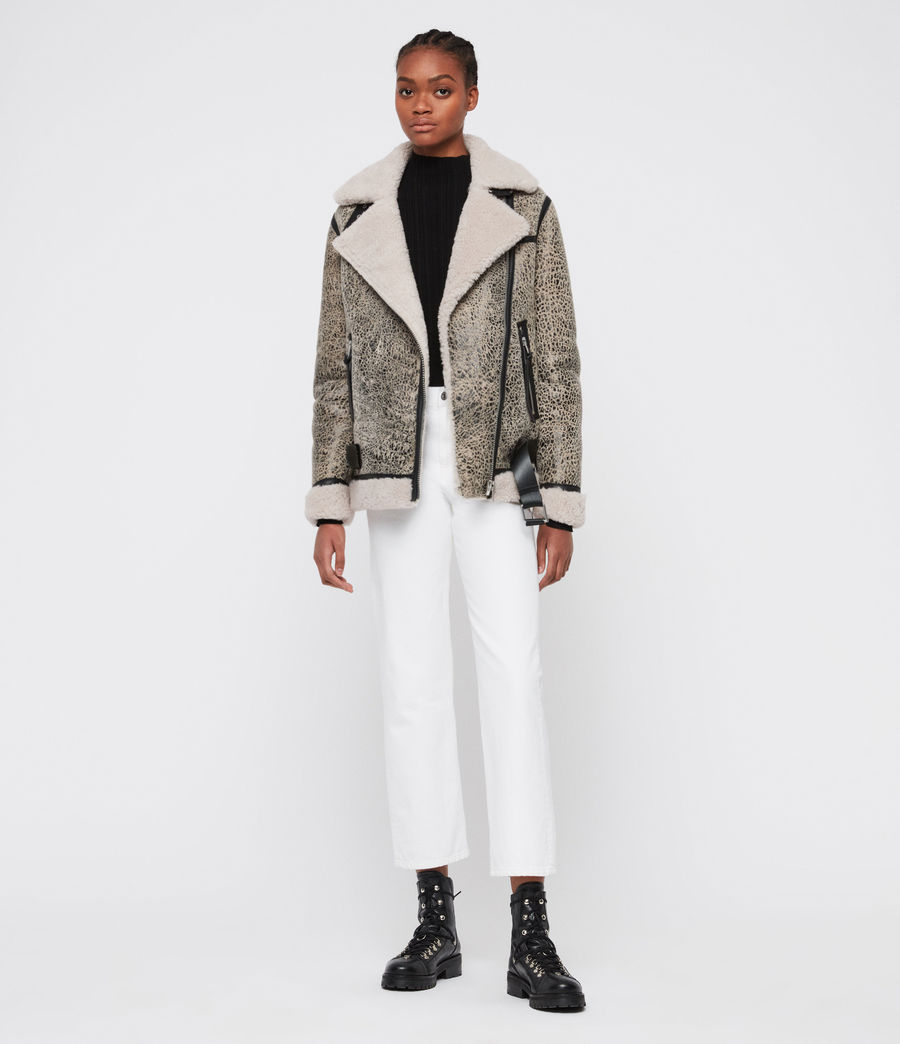 Damen Rei Shearling Jacke (aries_white_black) - Image 3