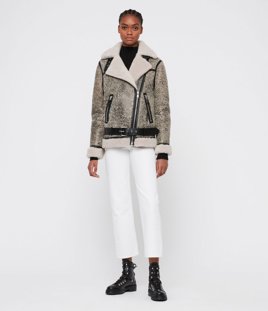 Damen Rei Shearling Jacke (aries_white_black) - Image 6