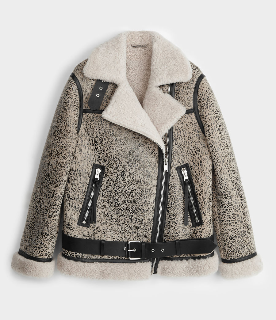 Damen Rei Shearling Jacke (aries_white_black) - Image 8