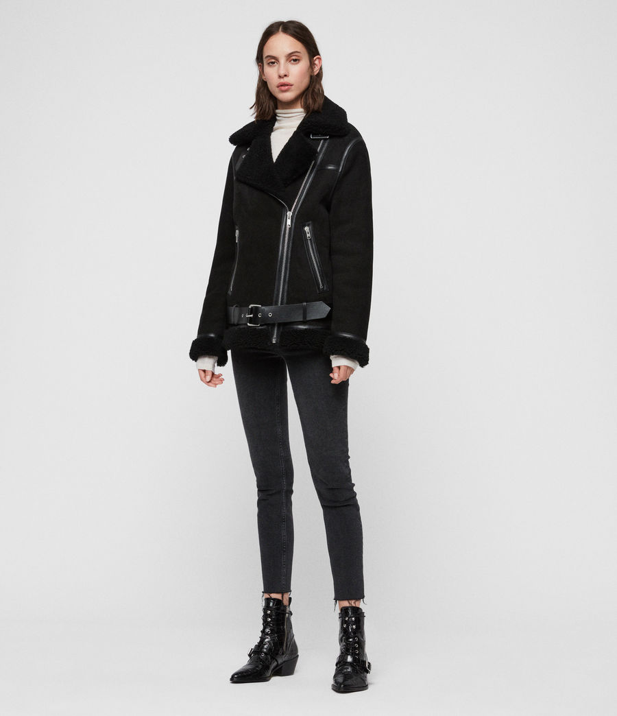 Womens Rei Shearling Biker Jacket (black_black) - Image 3