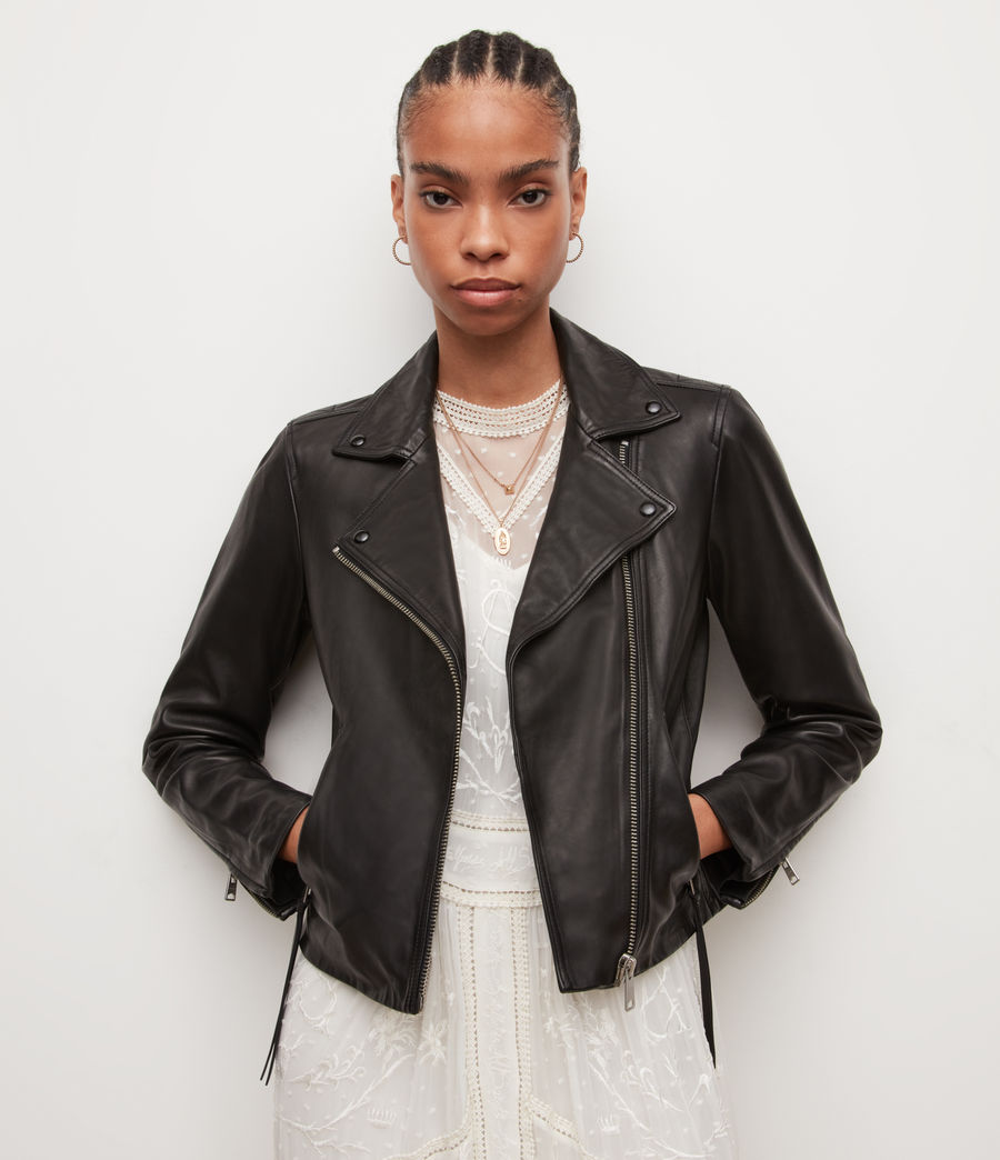Womens Dalby Leather Biker Jacket (black) - Image 4