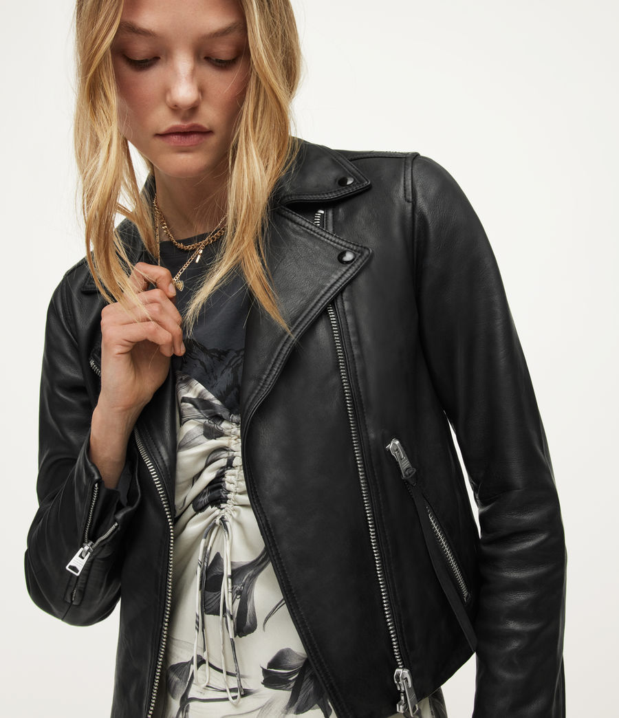 Women's Dalby Leather Biker Jacket (black) - Image 4