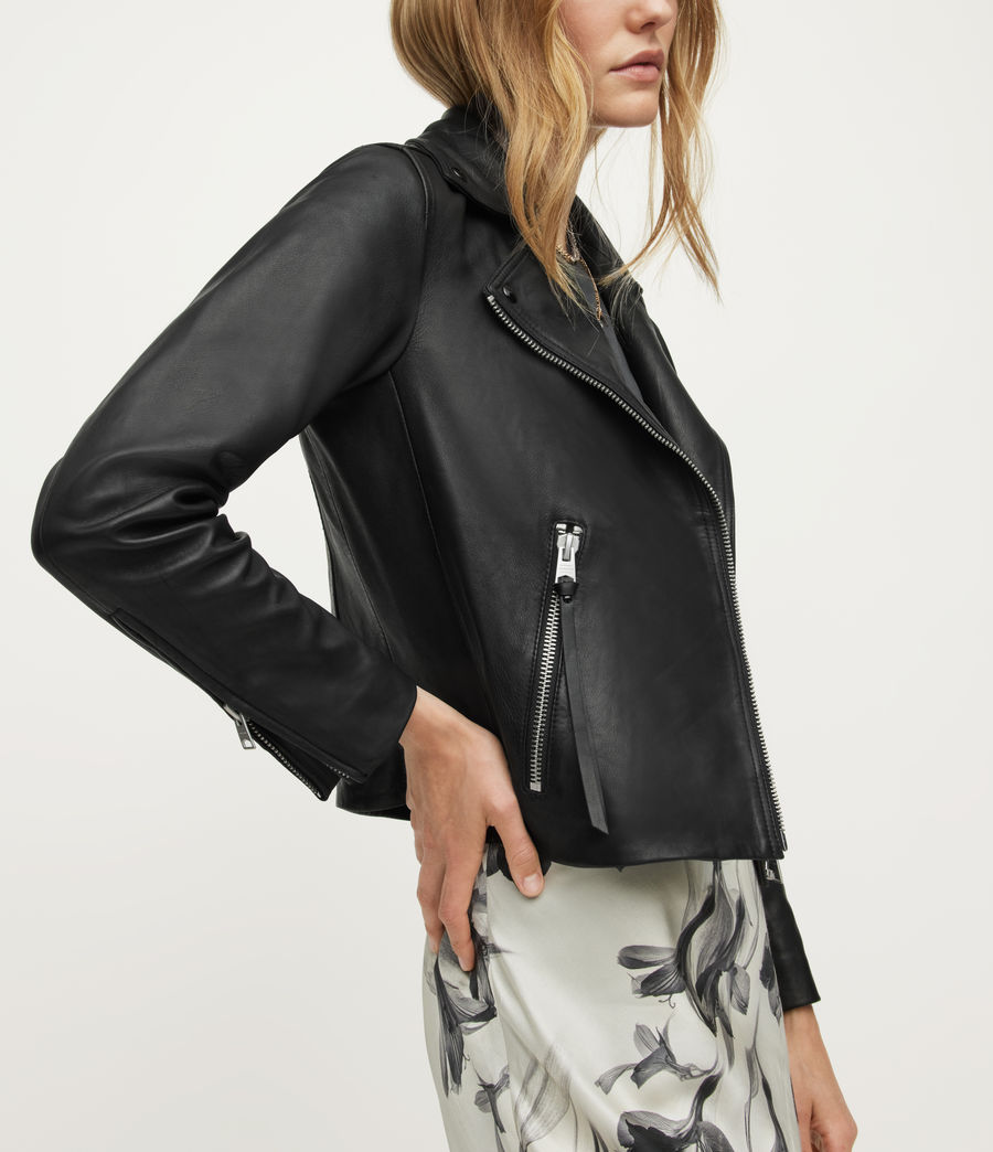Women's Dalby Leather Biker Jacket (dark_pebble_grey) - Image 5