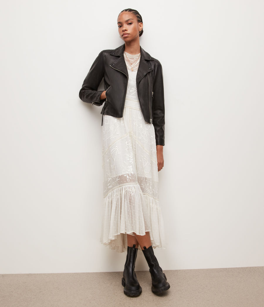 Womens Dalby Leather Biker Jacket (black) - Image 5