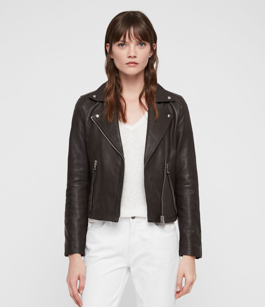 Mujer Dalby Leather Biker Jacket (dark_pebble_grey) - Image 1