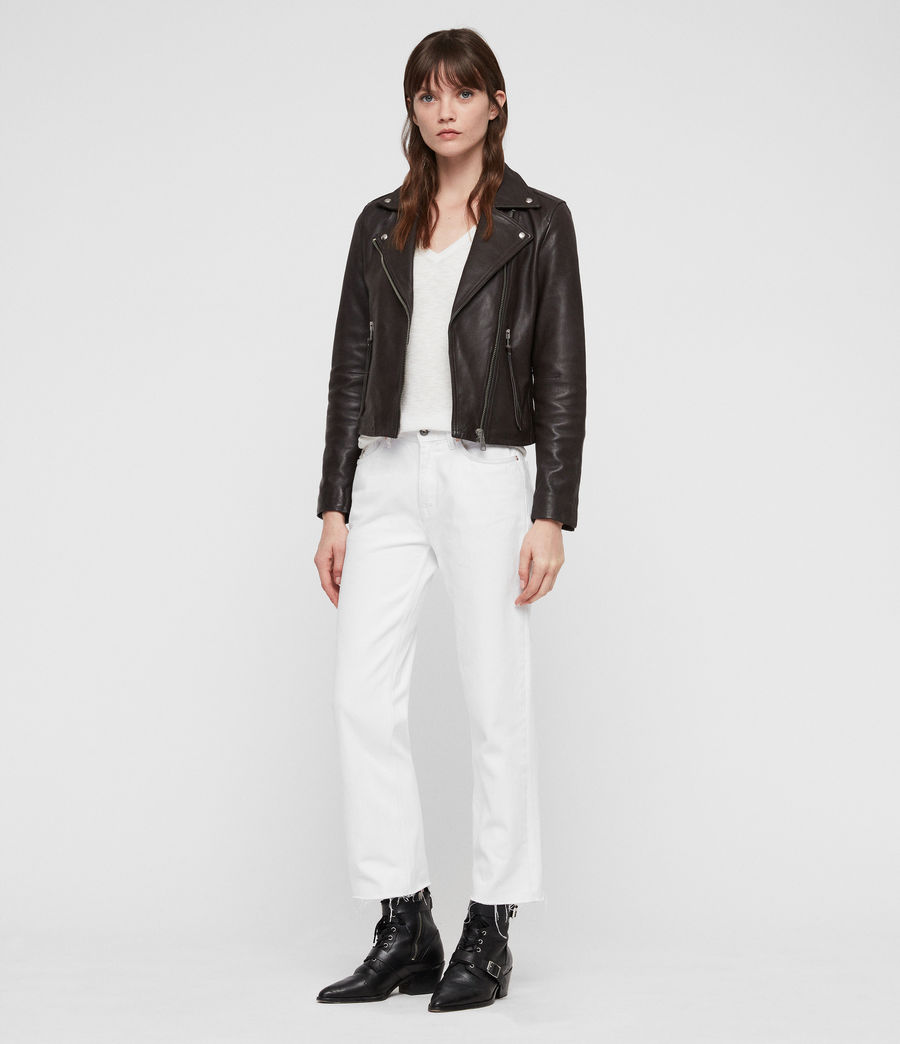 Mujer Dalby Leather Biker Jacket (dark_pebble_grey) - Image 3