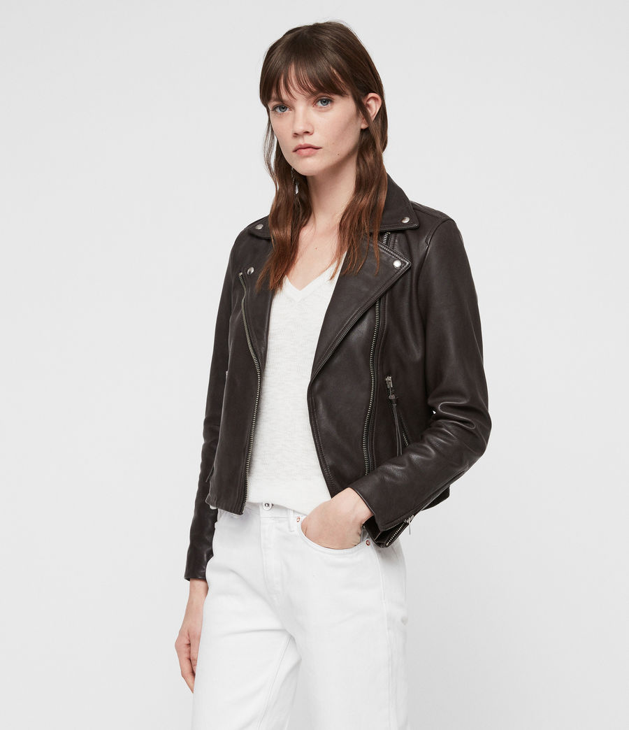 Mujer Dalby Leather Biker Jacket (dark_pebble_grey) - Image 4