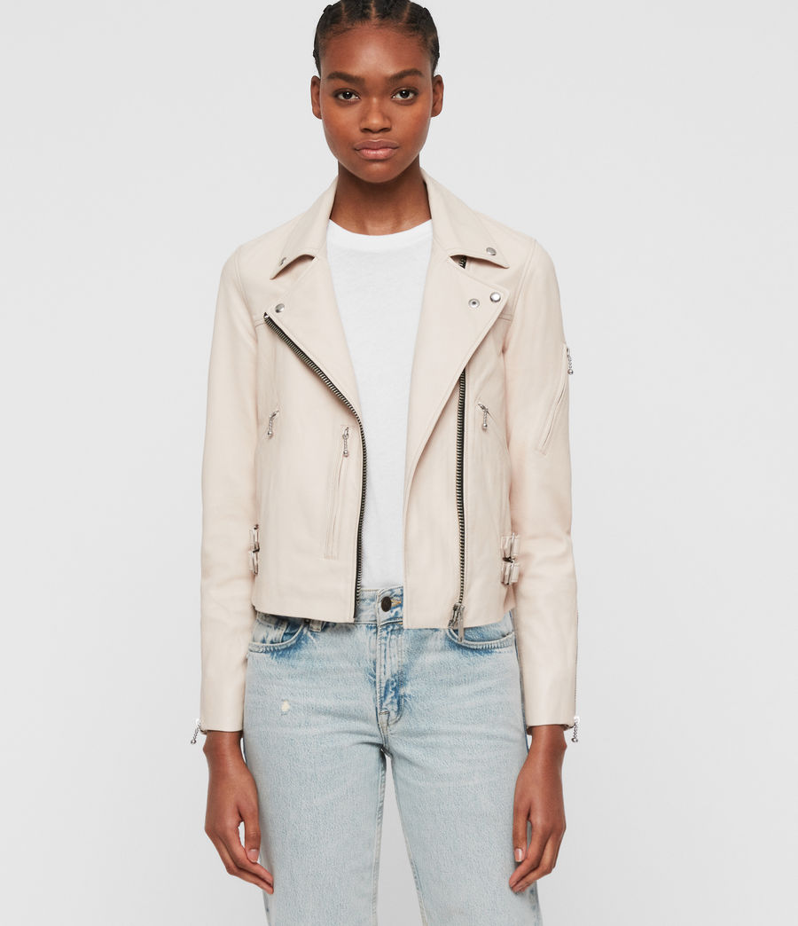 Women's Prescott Leather Biker Jacket (nude_pink) - Image 5