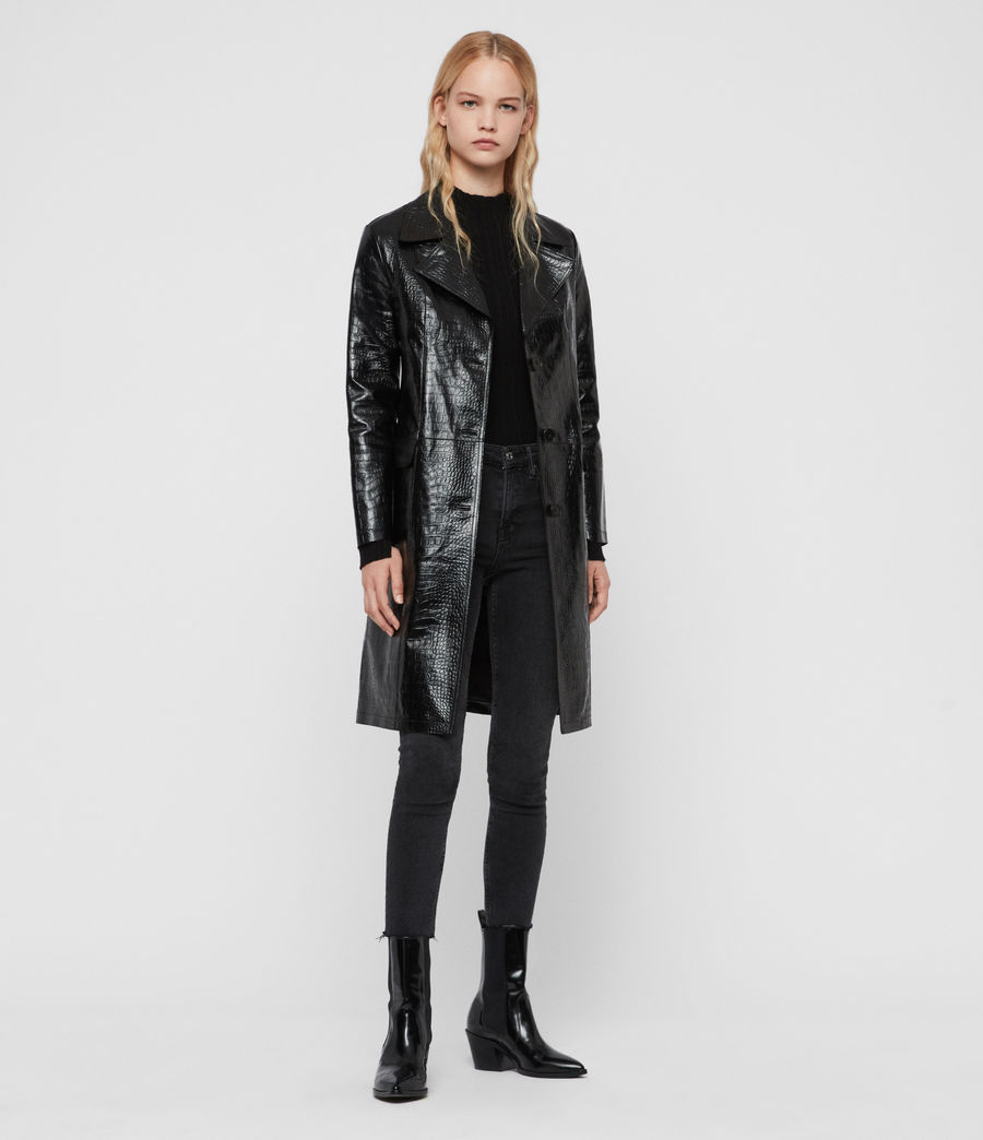 Womens Ali Leather Mac (black) - Image 1