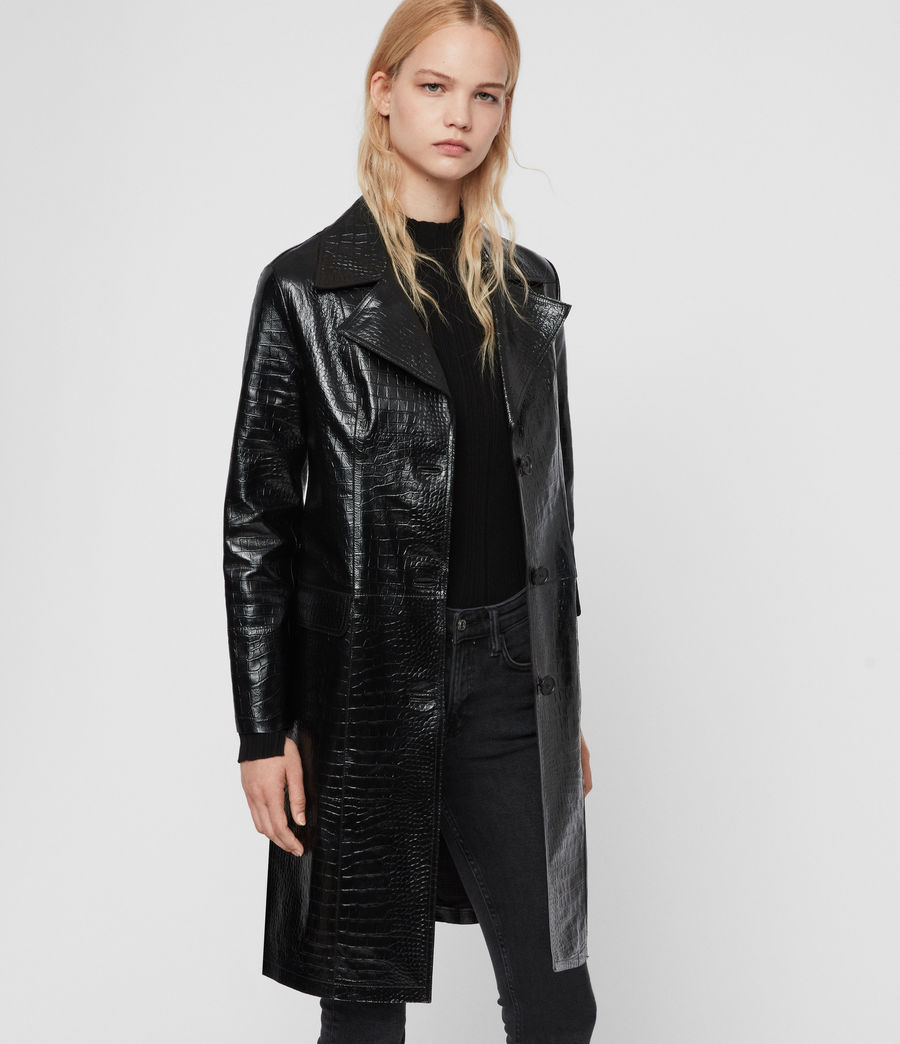 Womens Ali Leather Mac (black) - Image 4