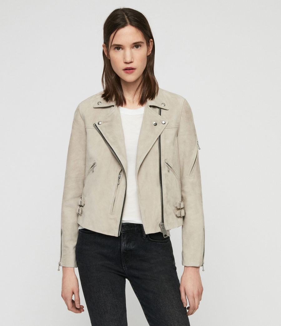 Women's Suede Prescott Biker Jacket (dove_grey) - Image 1