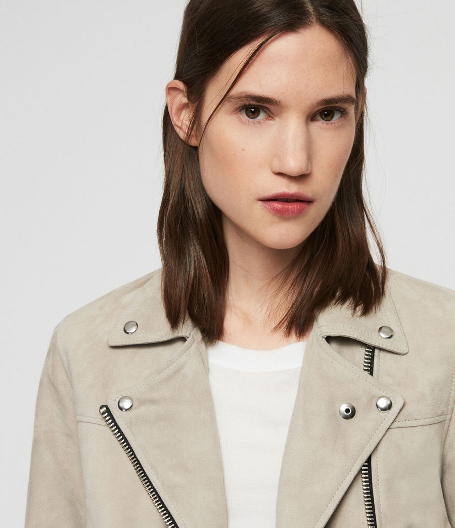 Women's Suede Prescott Biker Jacket (dove_grey) - Image 2
