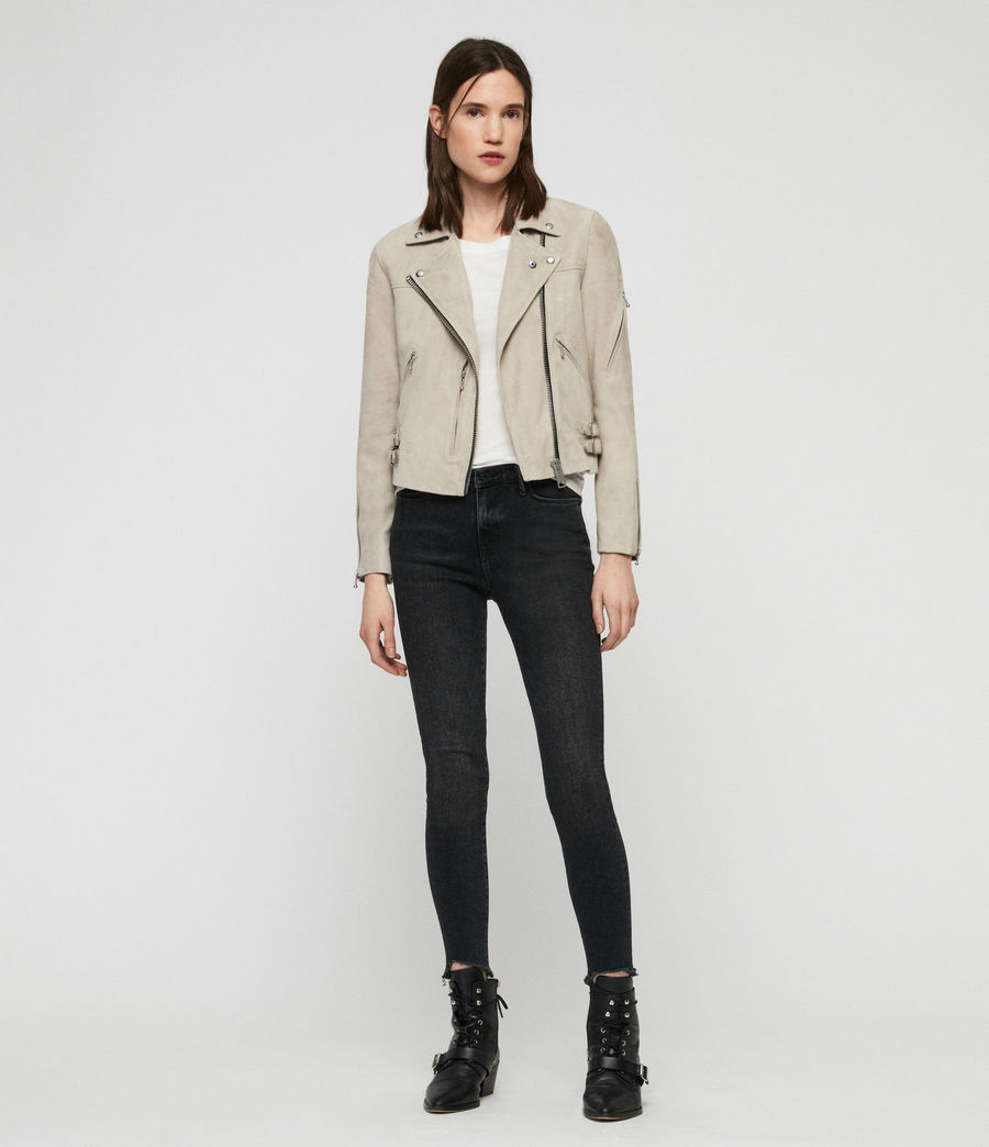Women's Suede Prescott Biker Jacket (dove_grey) - Image 3