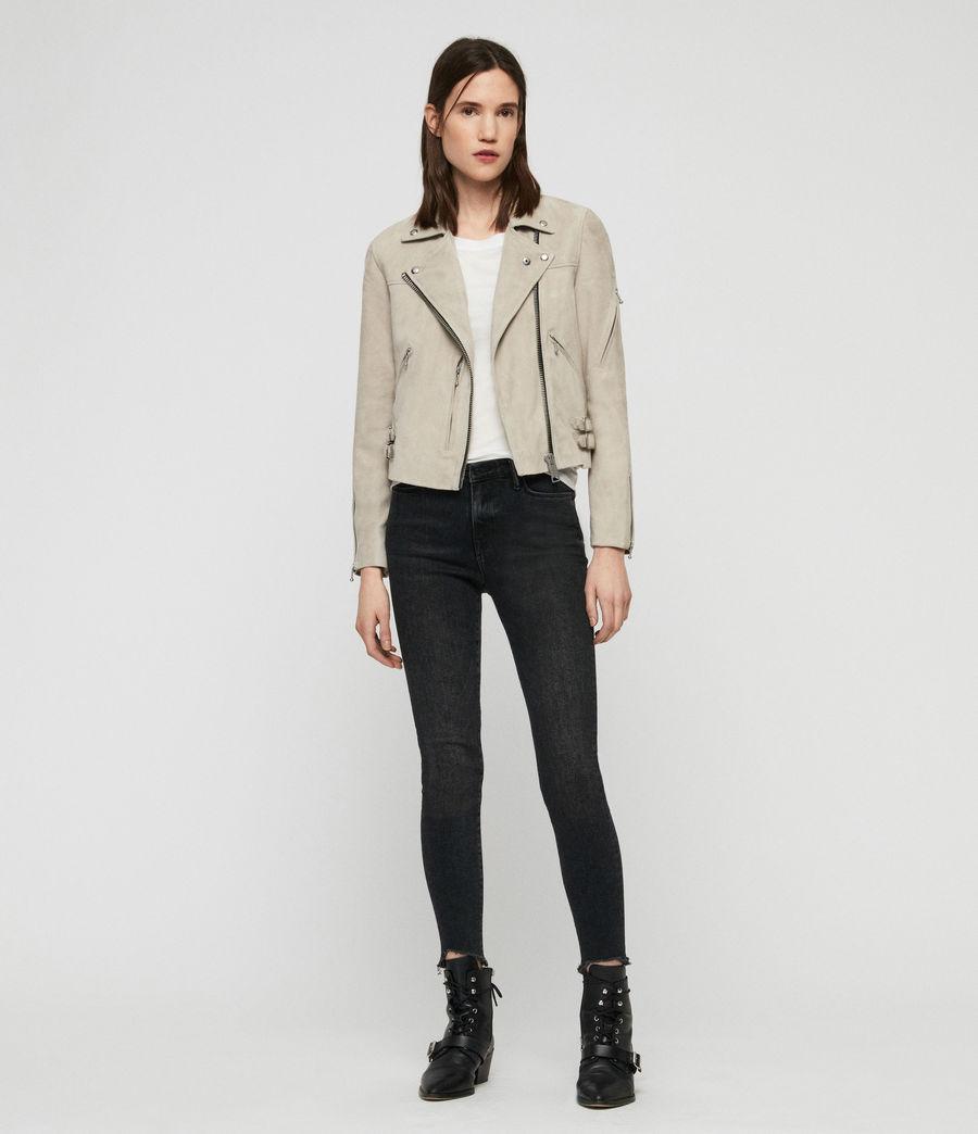 Womens Suede Prescott Biker Jacket (dove_grey) - Image 3