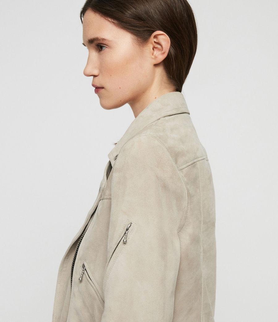 Womens Suede Prescott Biker Jacket (dove_grey) - Image 4