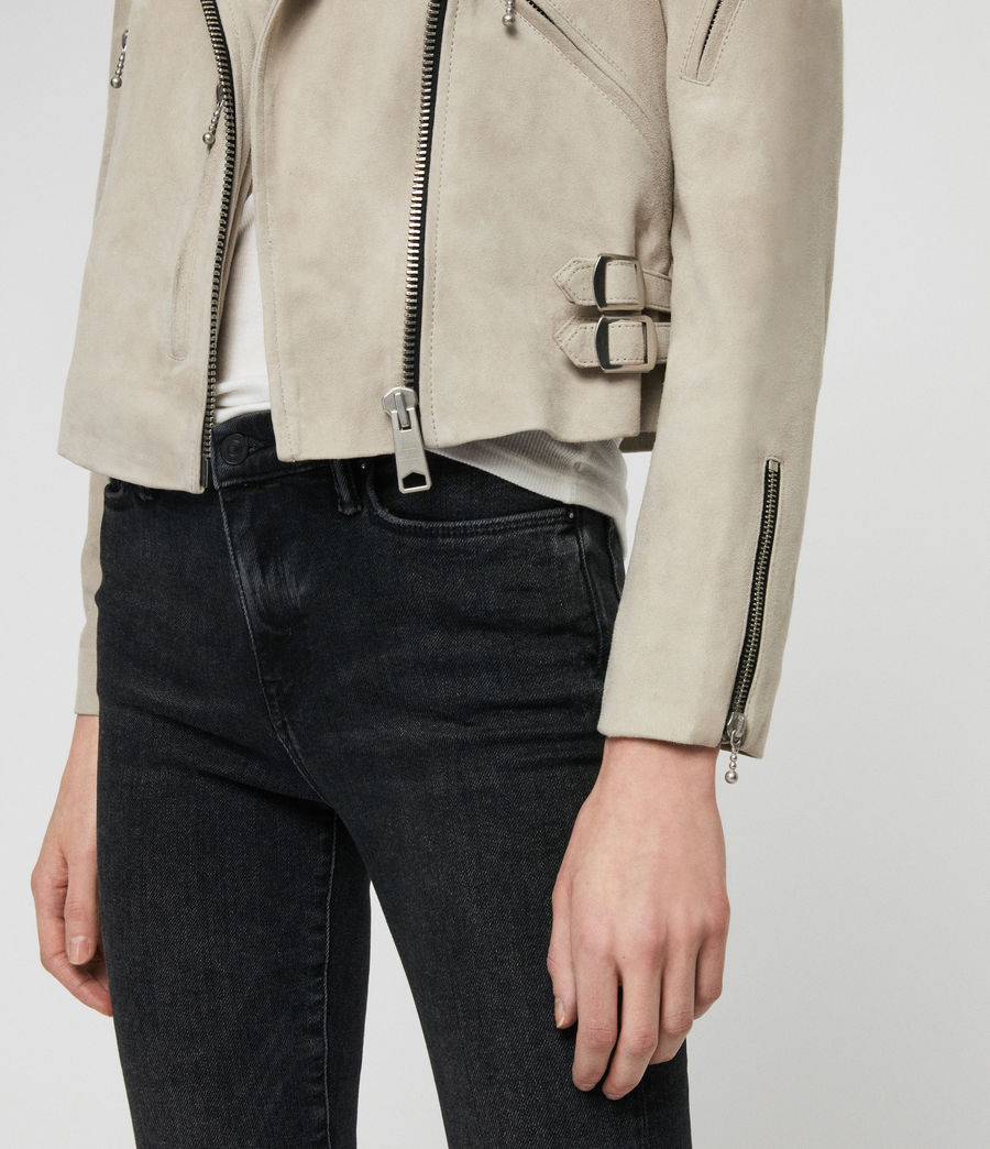 Women's Suede Prescott Biker Jacket (dove_grey) - Image 5