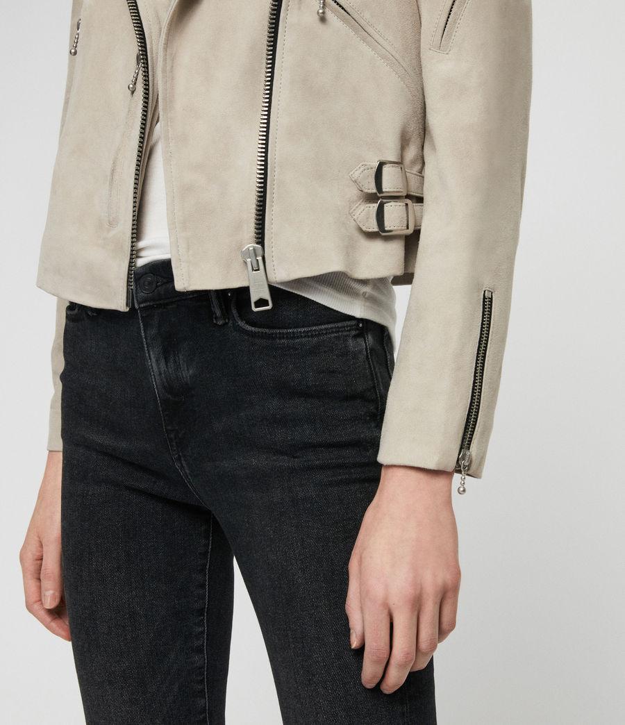 Womens Suede Prescott Biker Jacket (dove_grey) - Image 5
