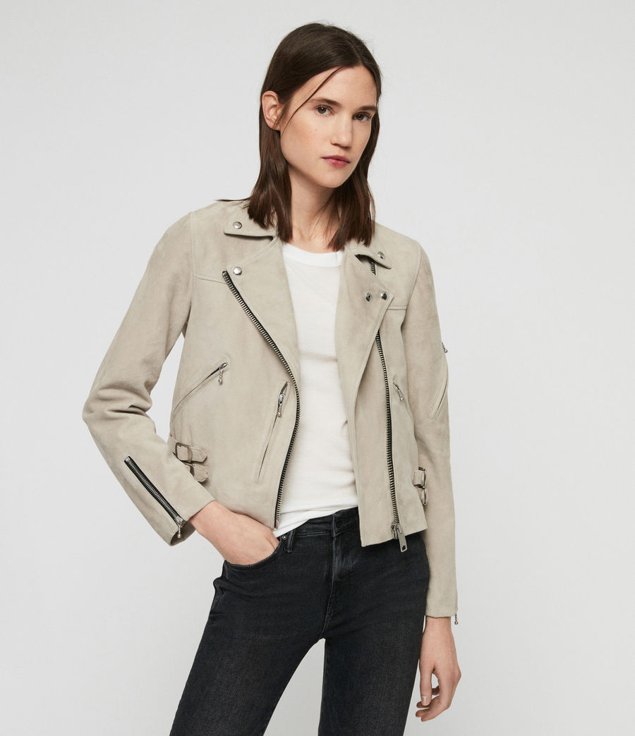 Women's Suede Prescott Biker Jacket (dove_grey) - Image 6