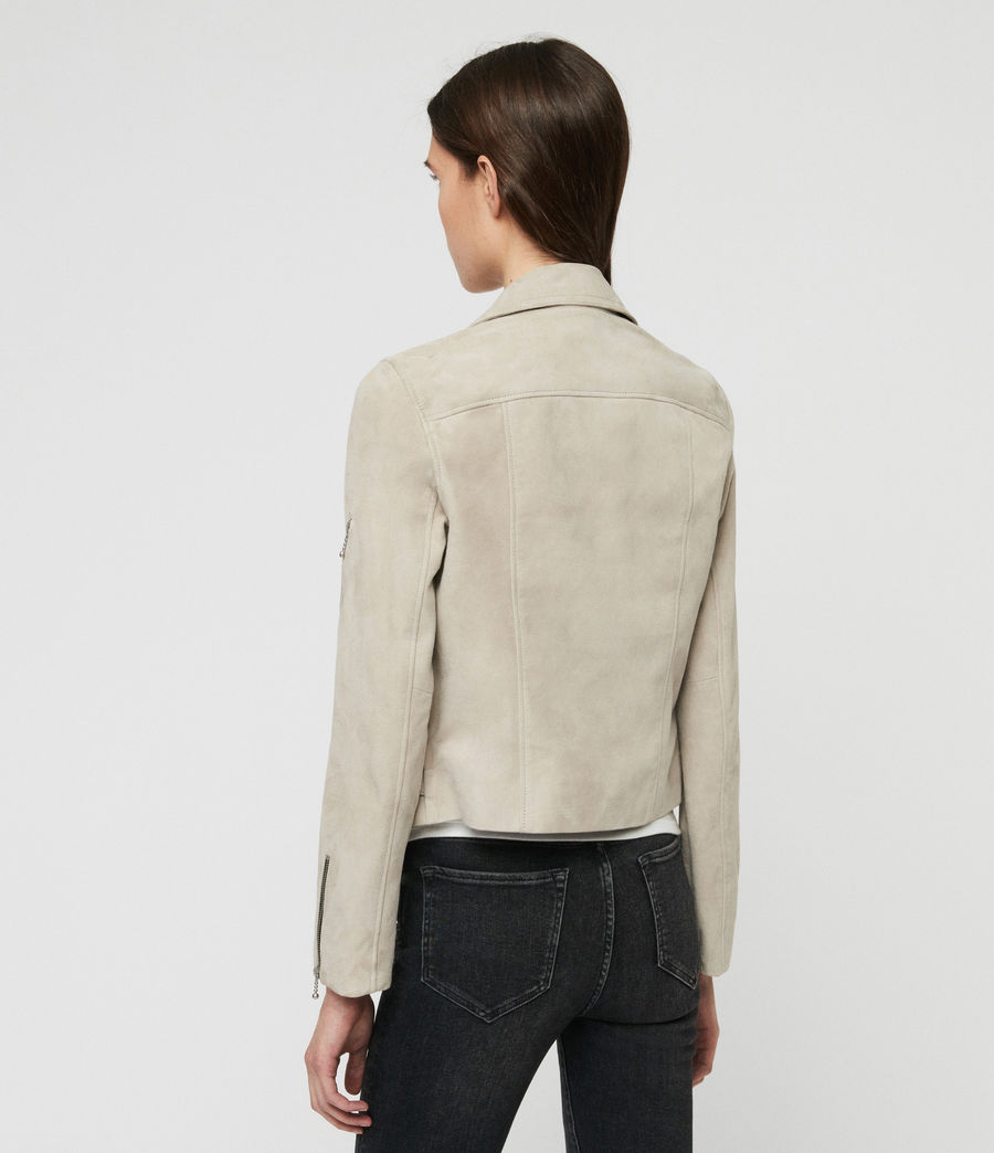 Womens Suede Prescott Biker Jacket (dove_grey) - Image 7