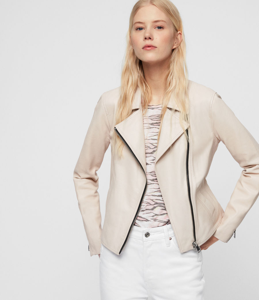 Womens Vela Leather Biker Jacket (nude_pink) - Image 1