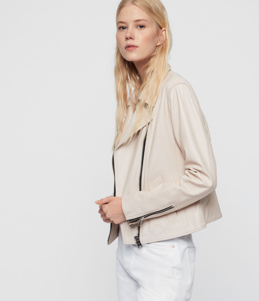 Womens Vela Leather Biker Jacket (nude_pink) - Image 2