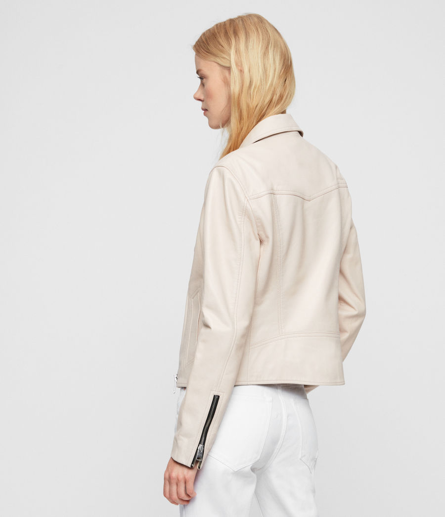 Womens Vela Leather Biker Jacket (nude_pink) - Image 5