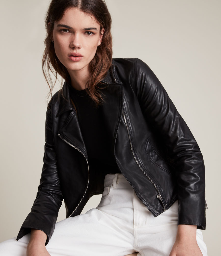 Women's Vela Leather Biker Jacket (black) - Image 2
