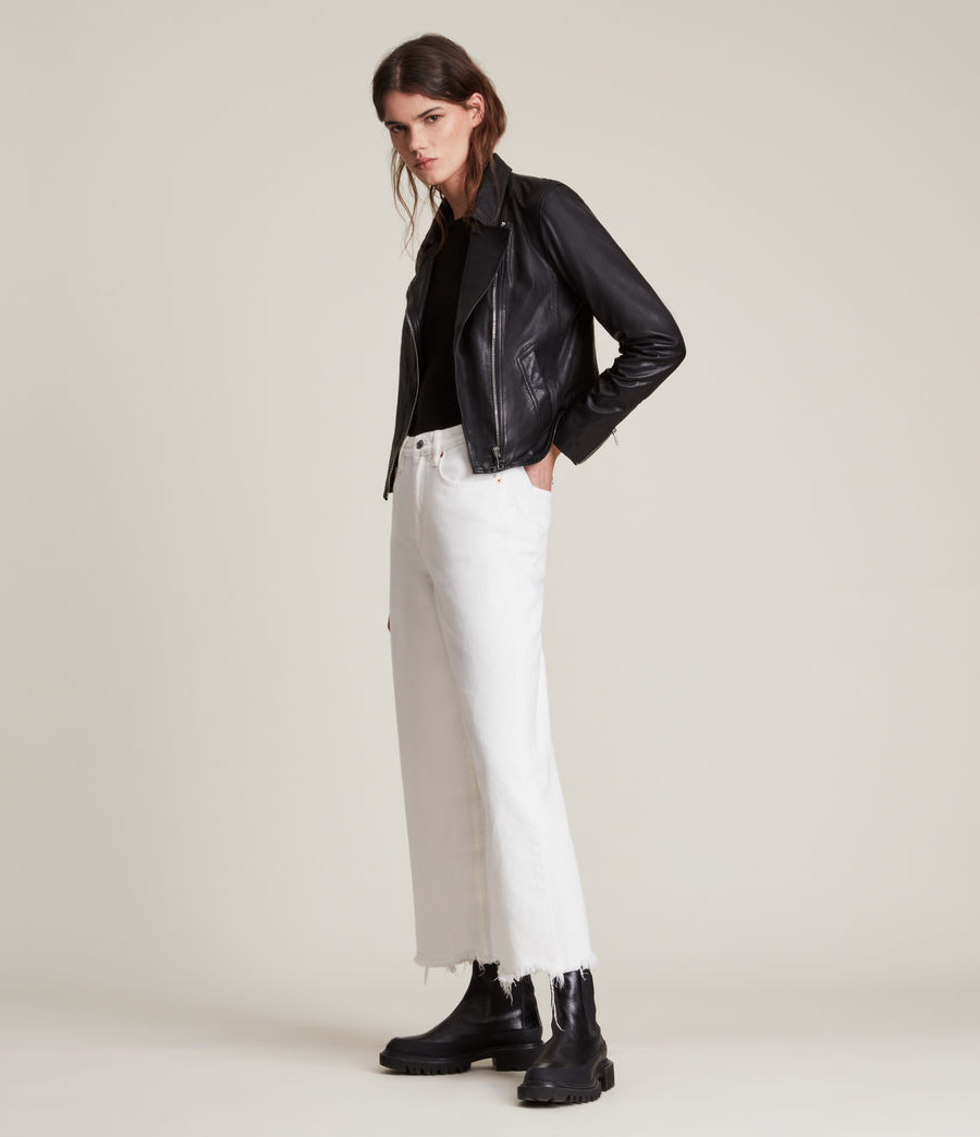 Women's Vela Leather Biker Jacket (black) - Image 3