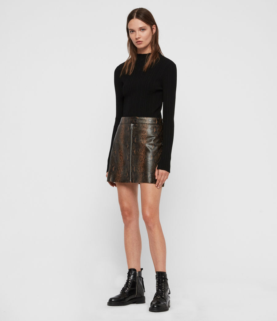 Womens Lena Oba Leather Skirt (khaki_green) - Image 1
