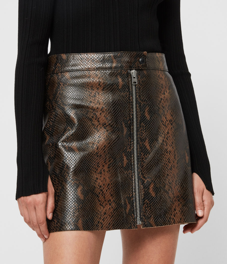 Womens Lena Oba Leather Skirt (khaki_green) - Image 2
