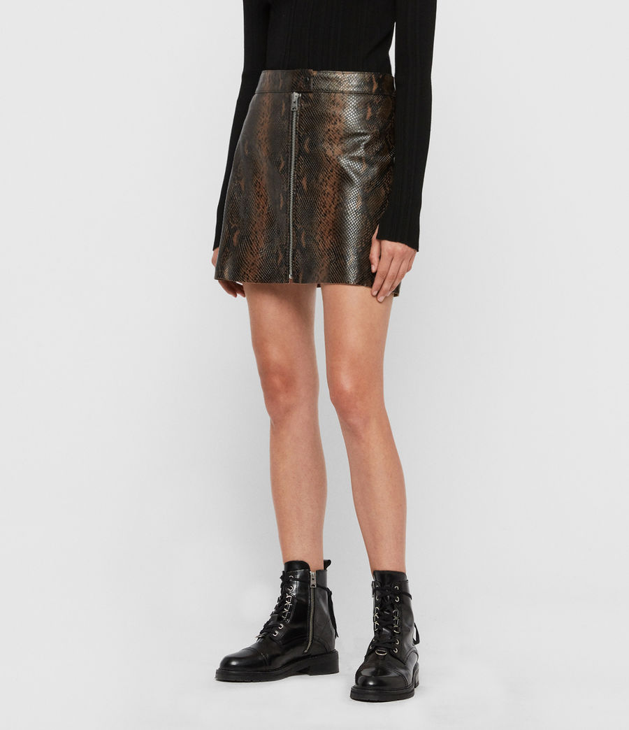 Womens Lena Oba Leather Skirt (khaki_green) - Image 4