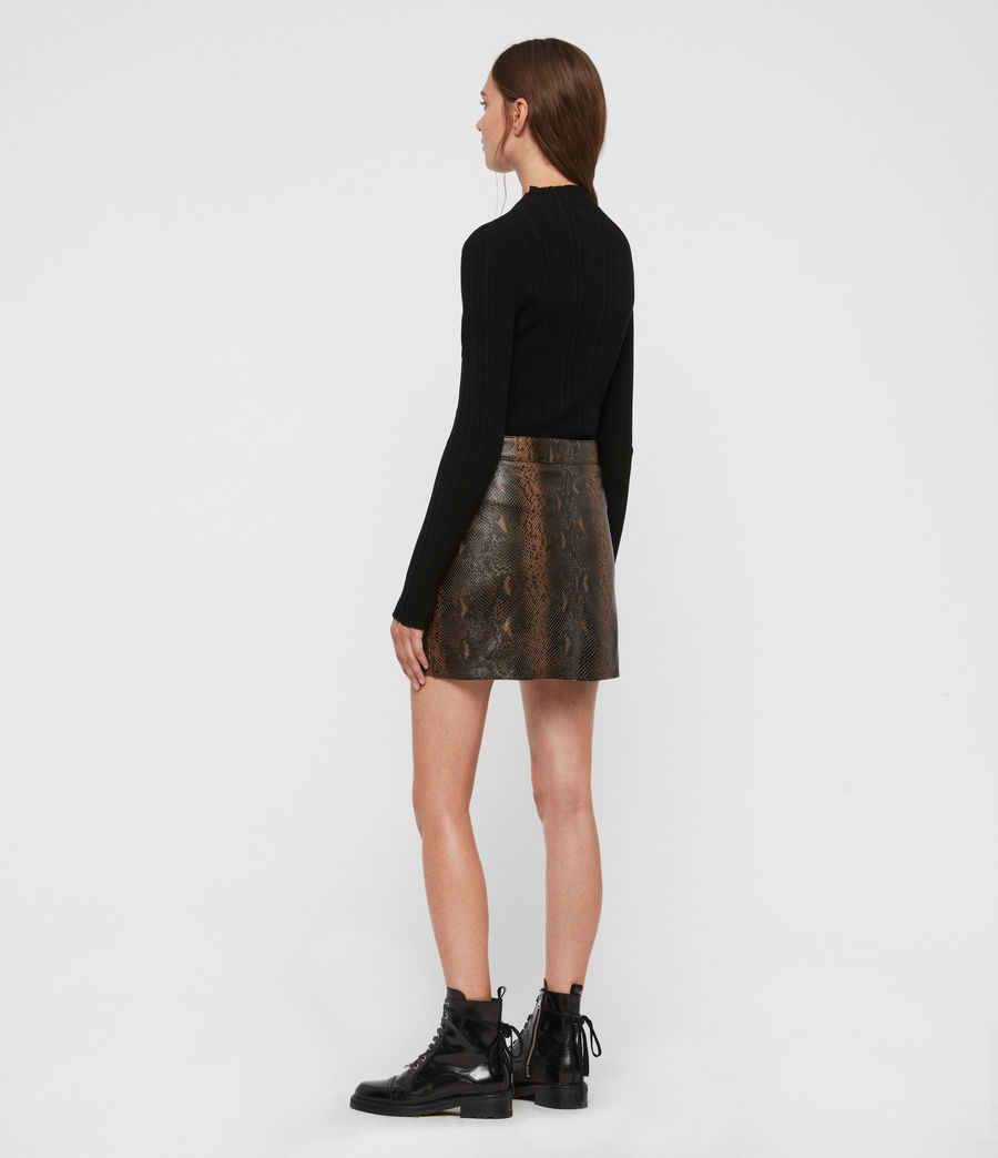 Womens Lena Oba Leather Skirt (khaki_green) - Image 5