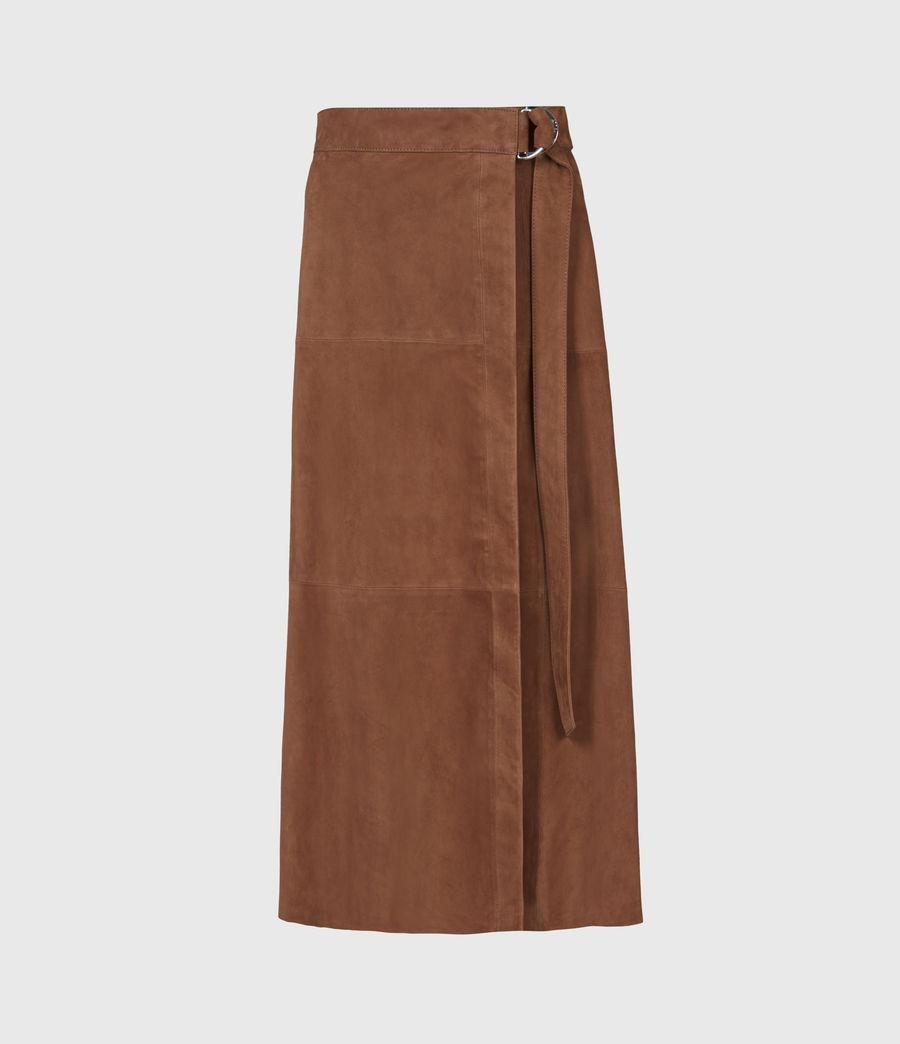 Womens Juva Suede Midi Skirt (tan_brown) - Image 2